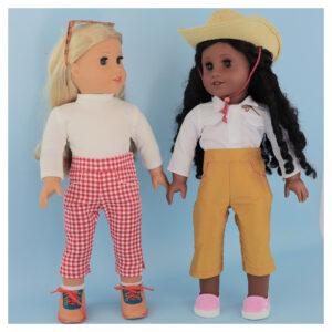 Capri pants, doll clothes, sewing pattern, Frocksandfrolics, beginner, American girl, Audrey,
