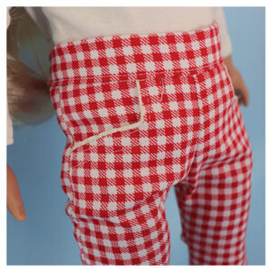 Capri pants, doll clothes, sewing pattern, Frocksandfrolics, beginner, American girl, Audrey, side pockets, Gingham