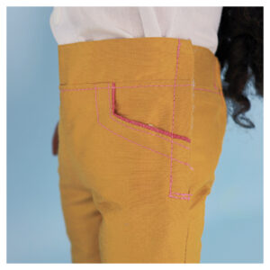 Capri pants, doll clothes, sewing pattern, Frocksandfrolics, beginner, American girl, Audrey, side pockets, close up