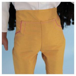 Capri pants, doll clothes, sewing pattern, Frocksandfrolics, beginner, American girl, Audrey, side pockets, piping