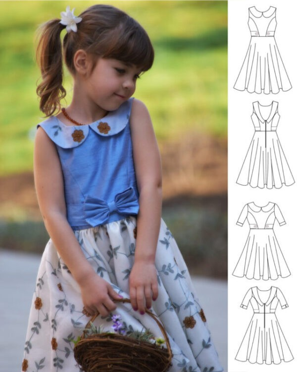 girls dress, party dress, party frock, pdf sewing pattern