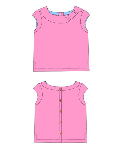 Beatrice pdf sewing pattern girls blouse vintage diagram