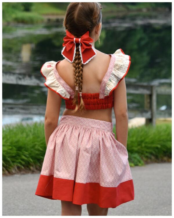 pleated skirt, vintage, sewing pattern, pleated skirt Frances, vintage, pdf sewing pattern with button closure, vintage pattern bundle