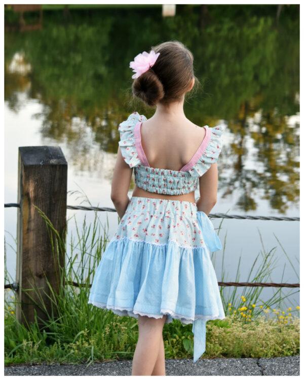 girls crop top and twirls skirt pdf sewing pattern
