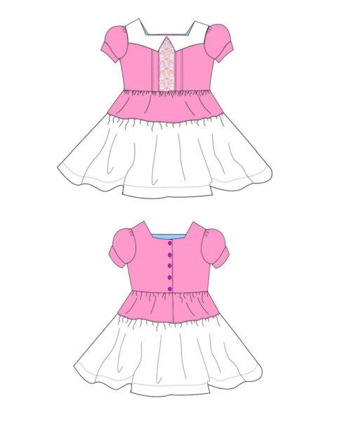 Isabella Dress sewing pattern, diagram