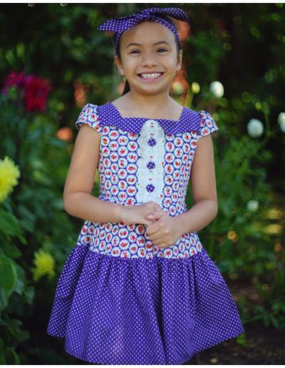 Girls Vintage Dress, pdf sewing pattern, Frocks & Frolics