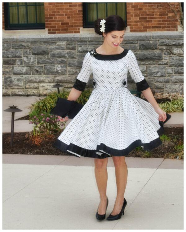 50ies dress sewing pattern, asszmetrical collar, circle skirt, teen pattern, pdf sewing pattern, frocks & frolics