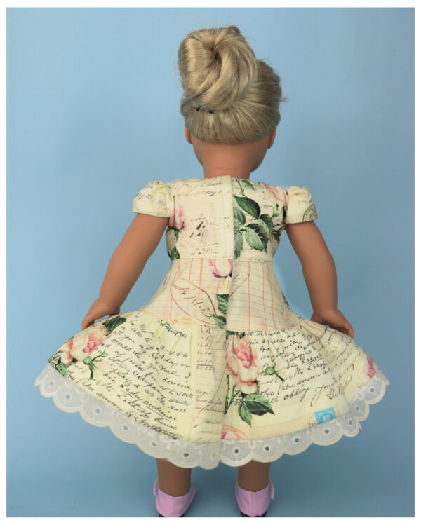 Doll clothes pdf sewing pattern, frocks & frolics, sewing for dolls, 18 inch doll, american doll, doll sewing, back view