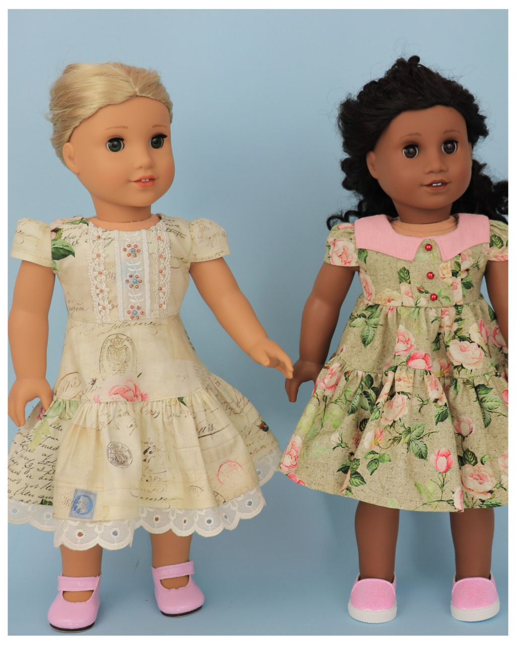 Doll clothes pdf sewing pattern, frocks & frolics, sewing for dolls, 18 inch doll, american doll, pin tucks and lace