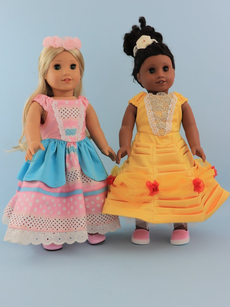 Princess dress sewing pattern, 18 inch doll, american doll, Frocks & Frolics, belle dress