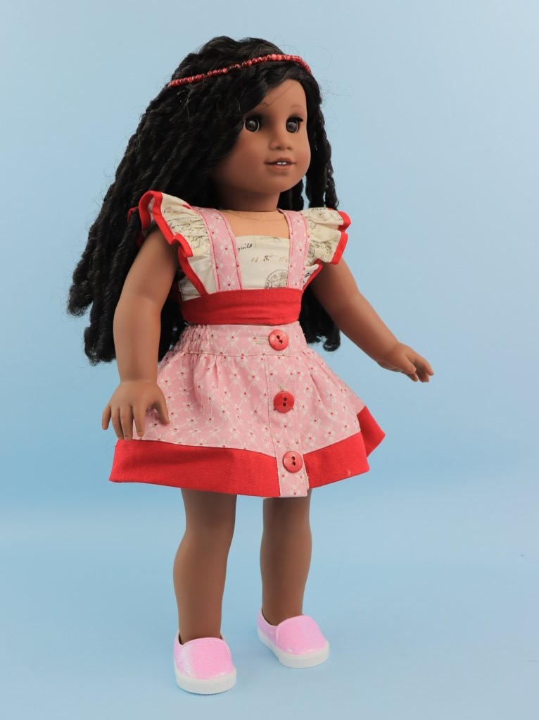flutter sleeve top sewing pattern, doll, American doll, Frocks & Frolics