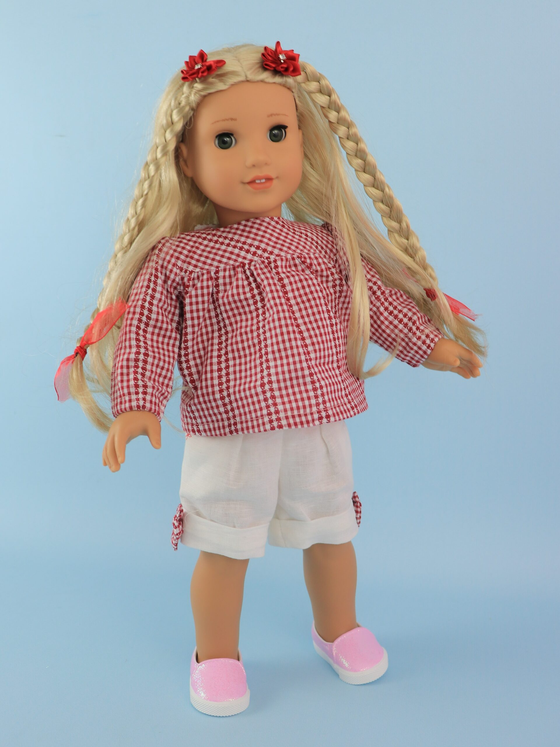 shorts and blouse pdf doll sewing pattern, Frocks & Frolics, American Doll