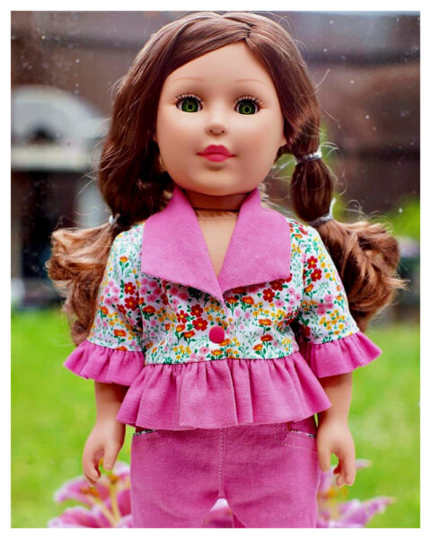 18 inch doll clothes, American girl doll clothes, Tilly crop top, Frocks and Frolics, learn to sew, doll blouse, pixie faire , Issaiya, sewing, shawl collar