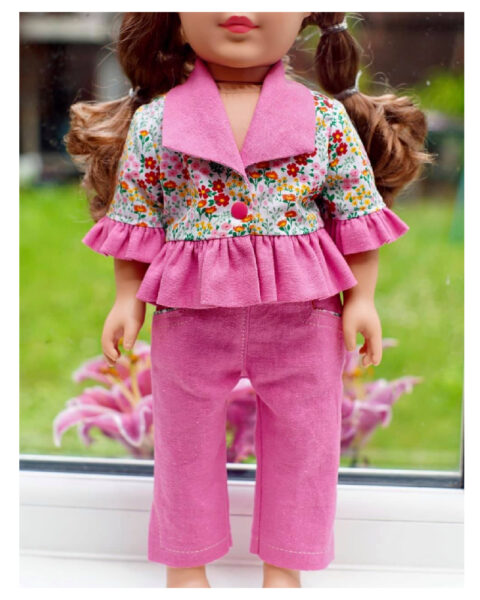 18 inch doll clothes, American girl doll clothes, Tilly crop top, Frocks and Frolics, learn to sew, doll blouse, pixiefaire.com