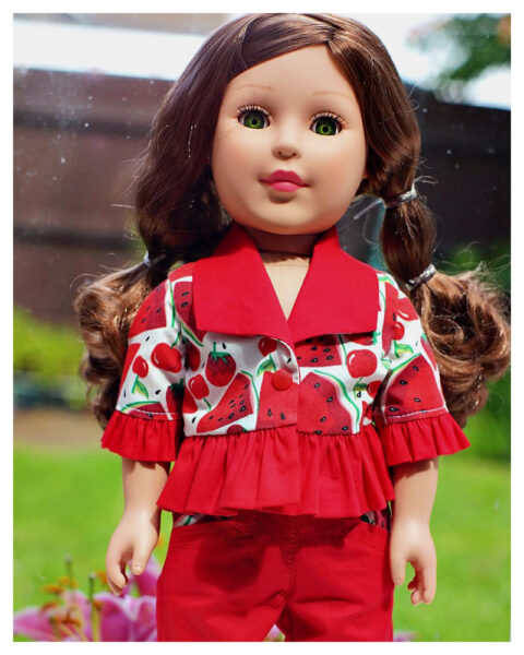 18 inch doll clothes, American girl doll clothes, bolero, doll bolero, Frocks and Frolics, learn to sew, doll blouse, pixie faire, sewing pattern
