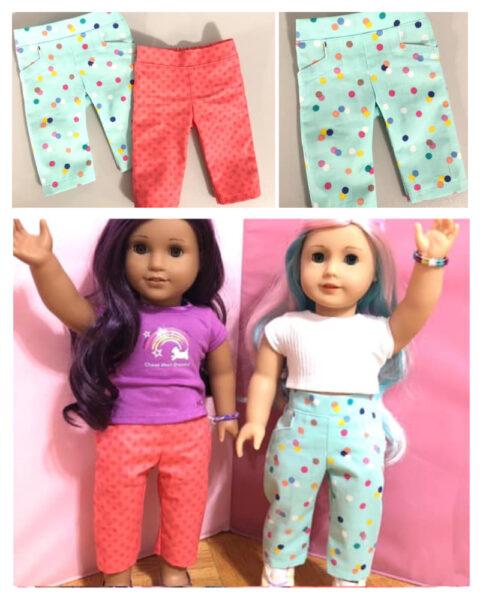 Capri pants, doll clothes, sewing pattern, Frocksandfrolics, beginner, American girl, Audrey, 18 inch doll clothes, sewing, sewing tutorial
