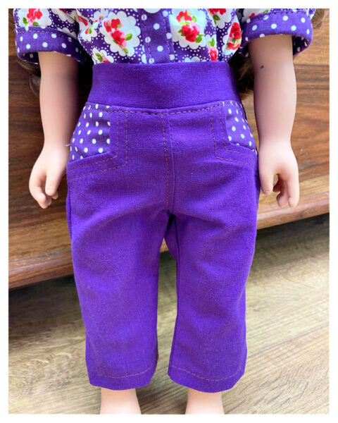 Capri pants, doll clothes, sewing pattern, Frocksandfrolics, beginner, American girl, Audrey, 18 inch doll clothes