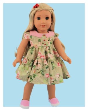 Doll clothes pdf sewing pattern, frocks & frolics, sewing for dolls, 18 inch doll, american doll, back view blue