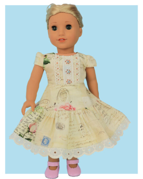 Doll clothes pdf sewing pattern, frocks & frolics, sewing for dolls, 18 inch doll, american doll, back view light blue