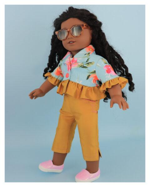 doll clothes, american girl, 18 inch doll clothes, doll dresses, Audrey Capri Pants, Paris bolero, side view