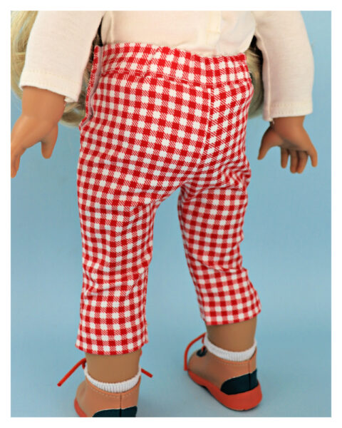 doll clothes, american girl, 18 inch doll clothes, doll dresses, Audrey Capri Pants, close up pants, elasticated waist