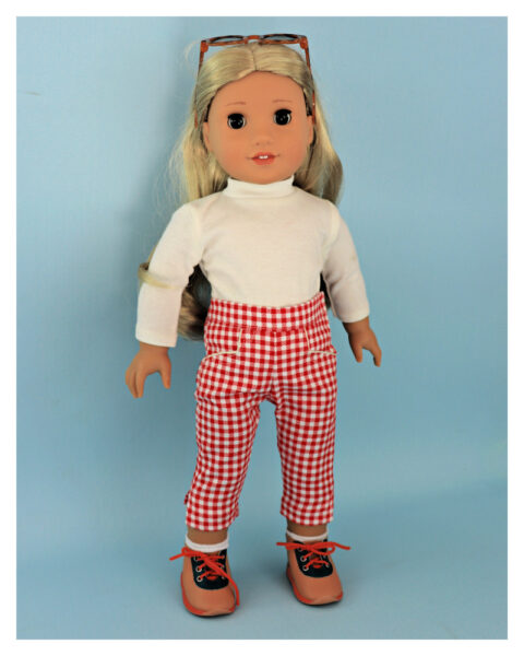 doll clothes, american girl, 18 inch doll clothes, doll dresses, Audrey Capri Pants, gingham fabric