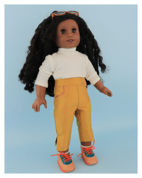 doll clothes, american girl, 18 inch doll clothes, doll dresses, Audrey Capri Pants, sewing, beginner,hook and loop tape
