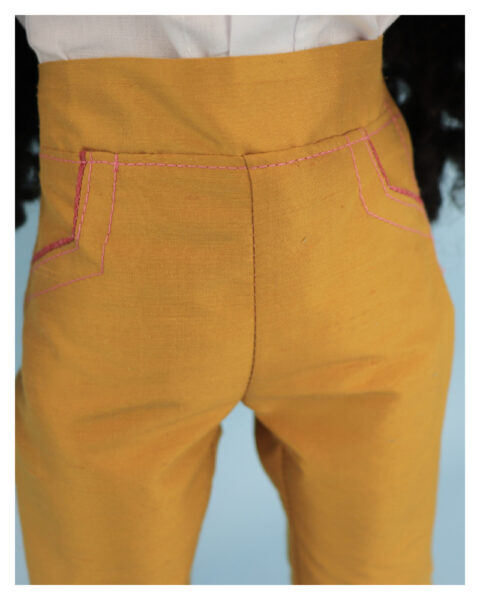 doll clothes, american girl, 18 inch doll clothes, doll dresses, Audrey Capri Pants,front view, pockets, side pockets, piping