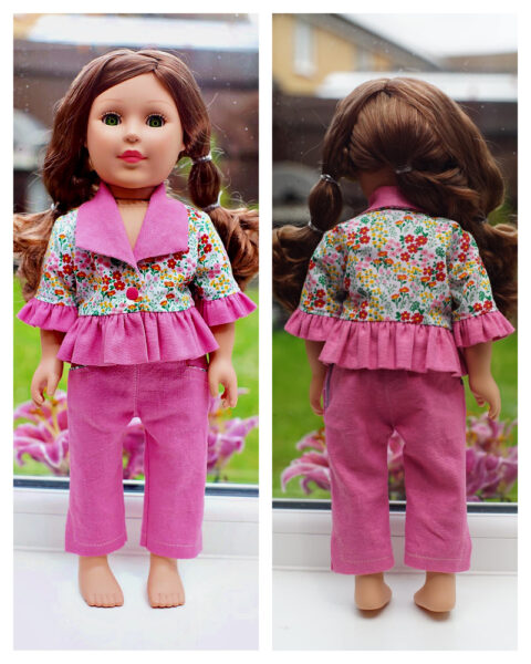 18 inch doll clothes, American girl doll clothes, Tilly crop top, Frocks and Frolics, learn to sew, doll blouse, pixie faire, bundle sewing, sewing pattern bundle