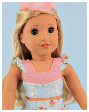 Crop top, doll sewing pattern, 18 inch doll, American Girl, Flutter sleeve