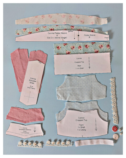 Crop top, doll sewing pattern, 18 inch doll, American Girl, Flutter sleeve, layout, Michael Miller, Rosalinda