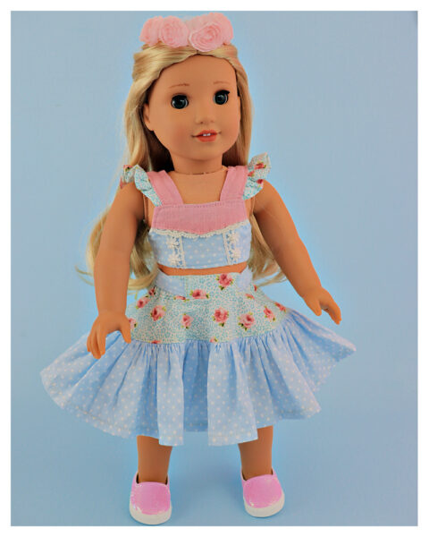 Crop top, doll sewing pattern, 18 inch doll, American Girl, Flutter sleeve, me and my doll