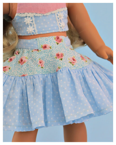 twirl skirt, doll sewing pattern, 18 inch doll, American Girl, Flutter sleeve, me and my doll, sew like a pro