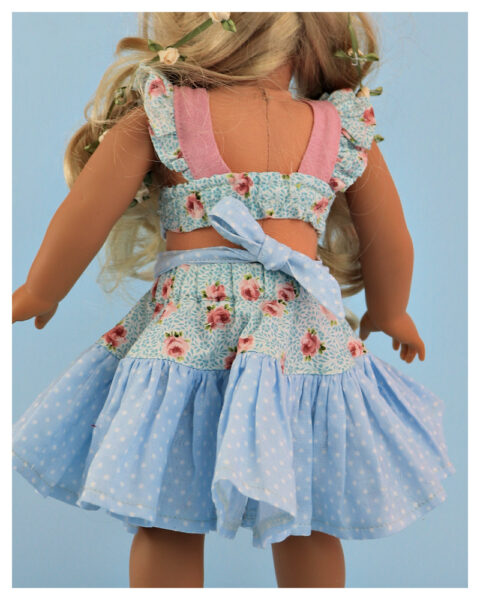 twirly skirt, doll sewing pattern, 18 inch doll, American Girl, Flutter sleeve, me and my doll, sew like a pro, video sewing tutorial