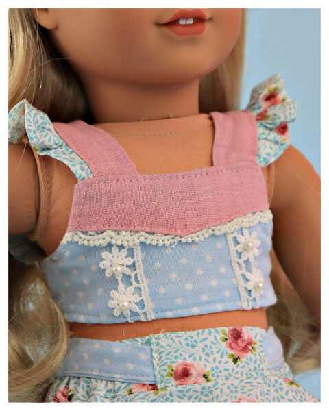 Crop top, doll sewing pattern, 18 inch doll, American Girl, Flutter sleeve, sewing tutorial, Frocks & Frolics