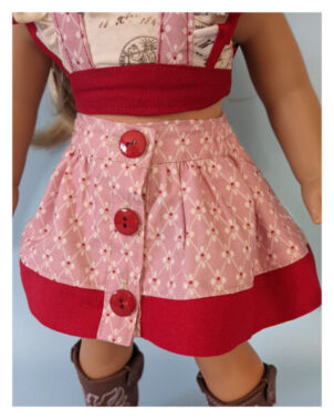 Betsy skirt, button down, retro skirt, simple skirt, sewing pattern, frocks, frolics, frolic, frocks and frolics, doll clothes, American Girl Doll