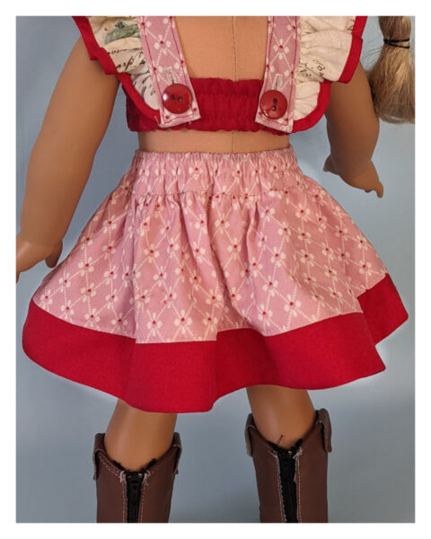 Betsy skirt, elasticated waist, retro skirt, simple skirt, sewing pattern, frocks, frolics, frolic, frocks and frolics, doll clothes, American Girl Doll