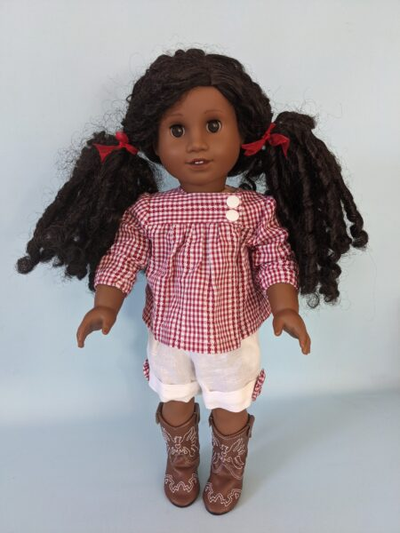 Virginia blouse, doll blouse, sewing pattern, video tutorial, frock, frolics, frocks and frolics, American girl doll, pixie faire,