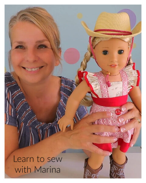 crop top, tilly, doll clothes, sewing pattern, flutter sleeve, frock, frolics, frocks.learn to sewjpg