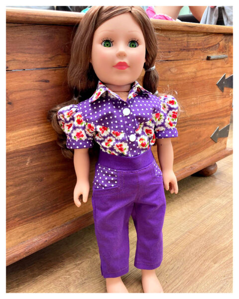 18 inch doll clothes, American girl doll clothes, Tilly crop top, Frocks and Frolics, learn to sew, doll blouse, pixie faire, Issariya