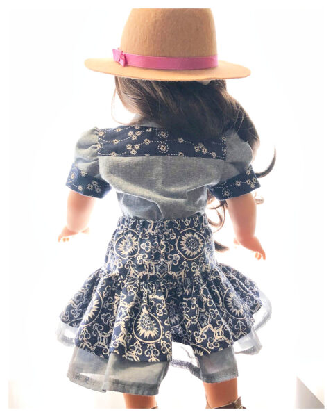 18 inch doll clothes, American girl doll clothes, Tilly crop top, Frocks and Frolics, learn to sew, doll blouse, pixie faire, Elied Garcia