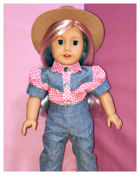 18 inch doll clothes, American girl doll clothes, Tilly crop top, Frocks and Frolics, learn to sew, doll blouse, pixie faire western blouse and Audrey Capris