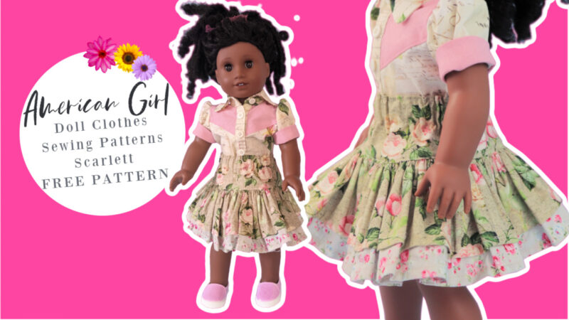 Scarlett, Doll Skirt, 18 inch doll clothes, free sewing pattern, free, sewing course, frocks and frolics, frocks, frolics, frock, google, pixie faire
