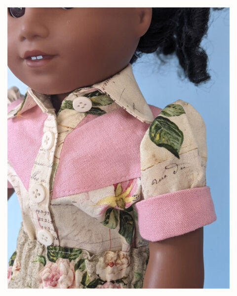 doll clothes, 18 inch doll, blouse, line dancing, western blouse for dolls, Frocks & Frolics, frocks, frolics, Pixie Faire, yoke, button closure, button down