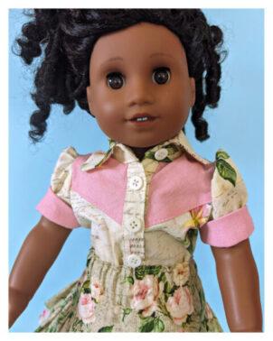 doll clothes, 18 inch doll, blouse, skirt, Scarlett, skirt for dolls, Frocks & Frolics, frocks, frolics, Pixie Faire, twirly skirt