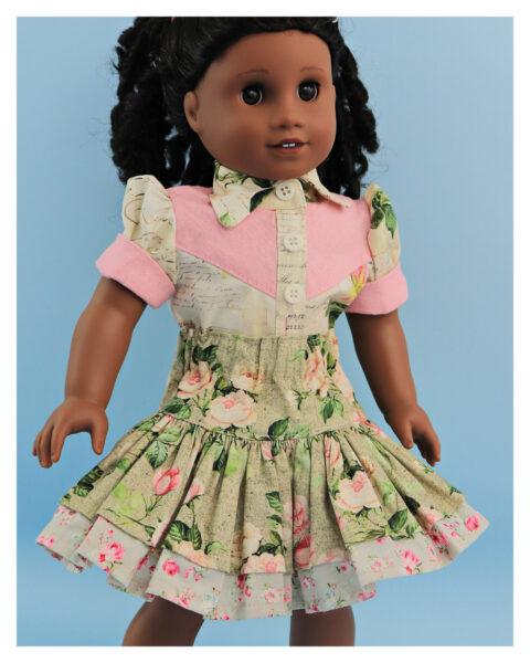 doll clothes, 18 inch doll, blouse, skirt, Scarlett, western blouse, Frocks & Frolics, frocks, frolics, Pixie Faire, twirly skirt