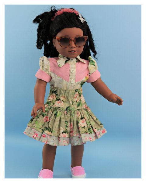 doll clothes, 18 inch doll, blouse, skirt, Scarlett, western blouse for dolls, Frocks & Frolics, frocks, frolics, Pixie Faire, twirly skirt