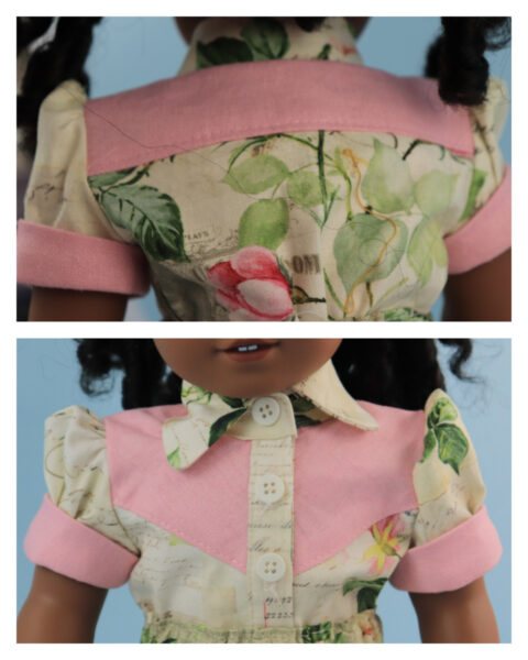 doll clothes, 18 inch doll, blouse, skirt, Scarlett, western blouse for dolls, Frocks & Frolics, frocks, frolics, Pixie Faire, yoke, button closure, button down