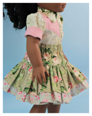 doll clothes, 18 inch doll, blouse, skirt, Scarlett,tiered skirt, Frocks & Frolics, frocks, frolics, Pixie Faire, twirly skirt