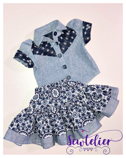 doll clothes, 18 inch doll, western blouse, Frocks & Frolics, frocks, frolics, Pixie Faire, American doll girl clothes, doll skirt, twirl skirt